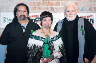 Tairawhit Person of the Year, Tricia Walsh, with Vic Tamati and Phil Paikea.
